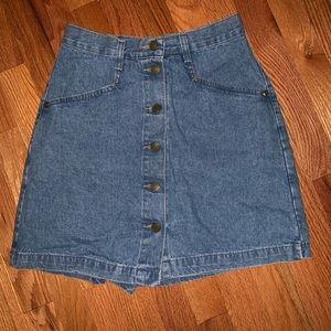 Vintage | Denim Button Front Skirt with Shorts